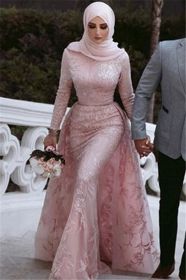 Pink Detachable Long-Sleeves Prom Dresses | Appliques Lace Mermaid Evening Gowns_3
