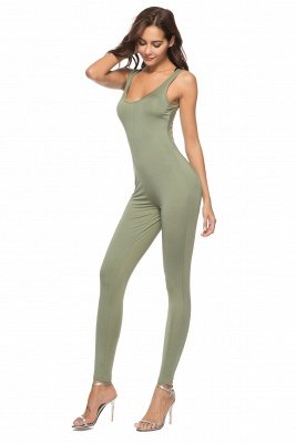 Stunning Straps Sleeveless Square Neck Ployester Tight Fit Jumpsuits