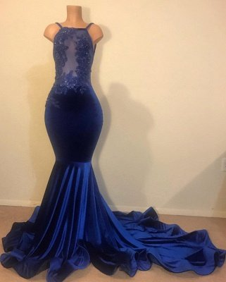 Sexy Mermaid Spahgetti-Straps Openback Velvet Applique Prom Dress_1