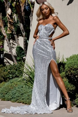 Charming Sweetheart Sleeveless Mermaid Front Split Prom Dress_2