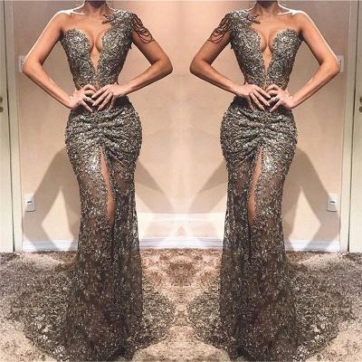 Elegant Sheath One-Shoulder Appliques Front Split Crystal Prom Dresses_2