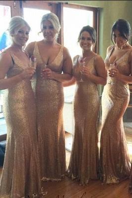 Robes de demoiselle d'honneur en or avec paillettes à col en V Plus la longueur au sol longue_1