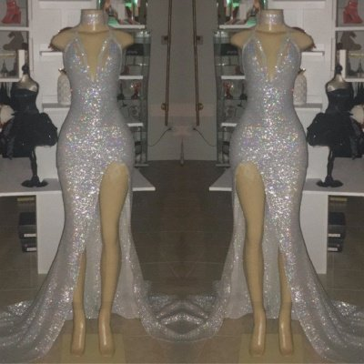 V-neck Sequins Mermaid Front Slit Floor Length Prom Dresses_3