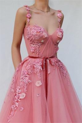 Vestidos de fiesta con aplicación de flor de tul y espagueti rosa hermosa_2