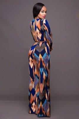 Elegantes mangas largas con escote en V Ployester pantalones largos anchos Monos_3
