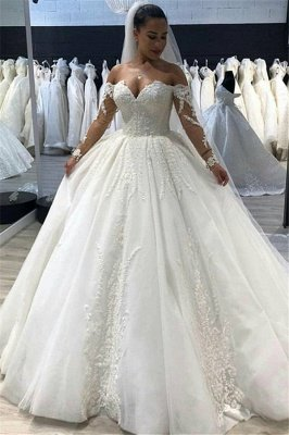 Elegant Ball Gown Sweetheart Long Sleeves Tulle Wedding Dresses