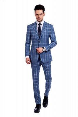 Blue Windowpane Einreiher Slim Fit Klassischer Anzug | Emailliertes Revers gemacht, um Mann-Anzug zu messen