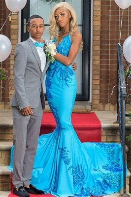 2019 Elegant Appliques Mermaid Prom Dresses | Sexy Blue Halter Sleeveless Evening Gowns