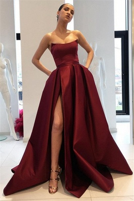 Maroon Strapless Ruffles Prom Dresses | Sleeveless Side Slit Evening Dresses with Pocket_1