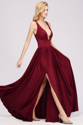 A-Line Jersey V-Neck Sleeveless Long Bridesmaid with Ruffles_3
