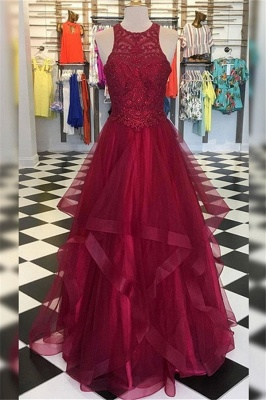 Gorgeous Halter Applique Ruffles Prom Dresses | Sleeveless Evening Dresses with Beads