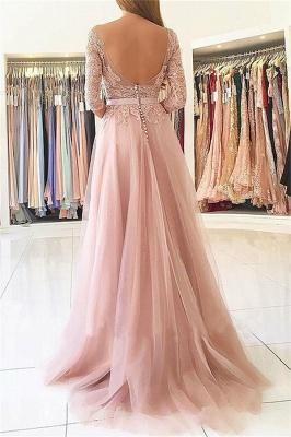Elegante apliques mangas largas vestidos de baile | Open Back Jewel Side Slit vestidos de noche con cinturón_2