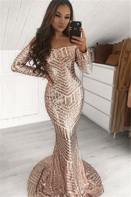 Sexy Sequins Off-The-Shoulder Long-Sleeves Mermaid Prom Dresses_1