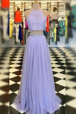 Gorgeous High Neck Crystal Applique Prom Dresses |Tulle Two Piece Sleeveless Evening Dresses