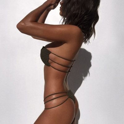 Solid Bandage Strapless Zweiteilige Sexy Bikini Sets_9