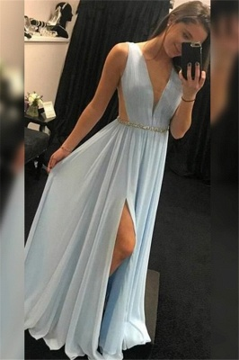 Alluring V-Neck Glittering Sequins Sleeveless Prom Dresses | Side Slit Evening Dresses with Belt