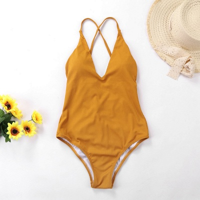 Plain V-neck Criss-cross Bandage One-piece Swimsuits_11