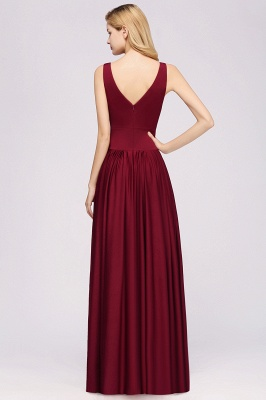 A-Line Jersey V-Neck Sleeveless Long Bridesmaid with Ruffles_4