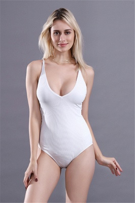 Plain V-neck Criss-cross Bandage One-piece Swimsuits_1
