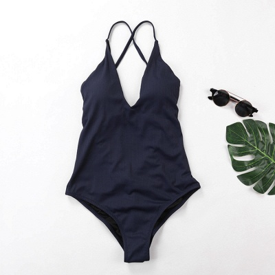 Plain V-neck Criss-cross Bandage One-piece Swimsuits_5