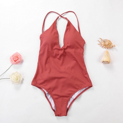 Plain V-neck Criss-cross Bandage One-piece Swimsuits_17