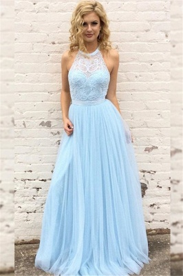 Gorgeous Elegant Lace Halter Prom Dresses | Sleeveless Tulle Evening Dresses with Belt Cheap