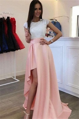 Gorgeous Jewel Applique Ruffles Prom Dresses | Side Slit Sleeveless Evening Dresses