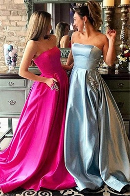Simple Strapless Sparkly Beads Ruffles Prom Dresses | Sleeveless Sexy Evening Dresses with Pocket_1
