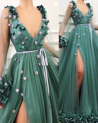 Gorgeous Green Long-Sleeves Tulle Side-Slit A-Line Prom Dress_3
