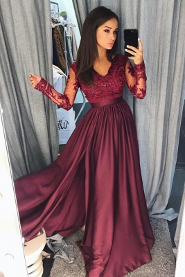 Simple  Applique Hot V-Neck Prom Dresses | Side slit Sleeveless Sexy Evening Dresses with Sparkly Beads_3