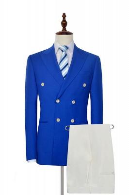 Royal Blue Zweireihiger Wollanzug   Mode-Spitze-Revers sechs Knopf-Bräutigam, der Smoking Wedding ist