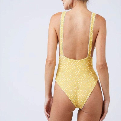 Yellow V-neck Knot One-piece Open Back Bathing Suits_8