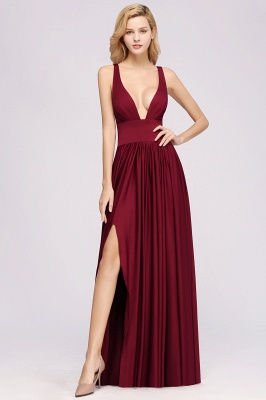 A-Line Jersey V-Neck Sleeveless Long Bridesmaid with Ruffles_2