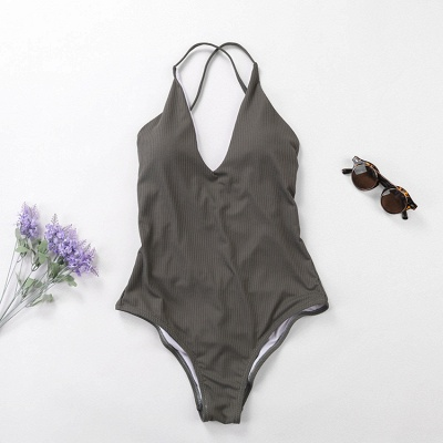 Plain V-neck Criss-cross Bandage One-piece Swimsuits_7