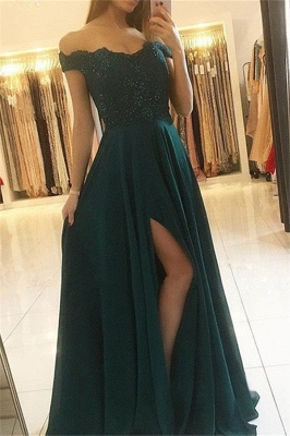 Stunning Off-the-Shoulder Sleeveless Prom Dresses | Side Slit Sexy Evening Dresses with Sparkly Beads_1