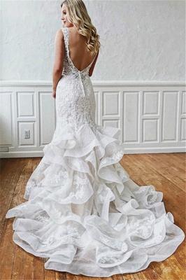 Elegante Encaje Con cuello en V sirena Vestidos de novia |  Volantes sin mangas_2