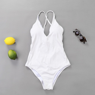 Plain V-neck Criss-cross Bandage One-piece Swimsuits_12