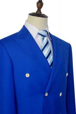 Royal Blue Zweireihiger Wollanzug | Mode-Spitze-Revers sechs Knopf-Bräutigam, der Smoking Wedding ist_6