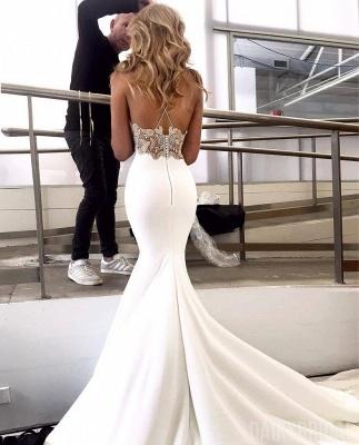 Elegant Spaghetti-Straps Backless Appliques Mermaid Wedding Dress_2