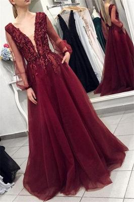 Sexy Rückenfrei Abendkleider Lang V Asucchnitt | Abiballkleider Mit Ärmel_1