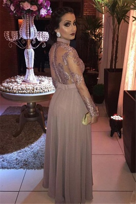 A-Line Gorgeous Appliques Sheer Tulle Long Sleeves Evening Dresses_2