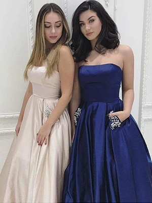 Simple Strapless Sparkly Beads Ruffles Prom Dresses | Sleeveless Sexy Evening Dresses with Pocket_5