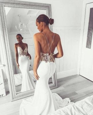 Elegant Spaghetti-Straps Backless Appliques Mermaid Wedding Dress_3