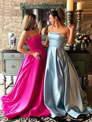 Simple Strapless Sparkly Beads Ruffles Prom Dresses | Sleeveless Sexy Evening Dresses with Pocket_2