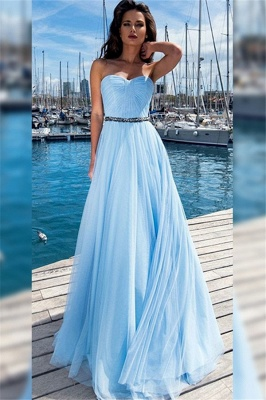 Gorgeous Sweetheart Ruffles Crystal Prom Dresses | Sleeveless Evening Dresses With Belt