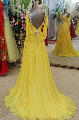 Affordable Yellow Spaghetti Strap Open Back Prom Dresses | Sleeveless Applique Evening Dresses with Beads_2