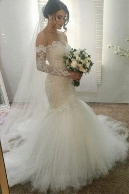 Elegant Appliques Sweetheart Wedding Dresses | Ribbons Sheer Longsleeves Floral Bridal Gowns