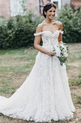 Sexy Flowers Off-the-Shoulder Wedding Dresses | Appliques Sheer Sleeveless Floral Bridal Gowns