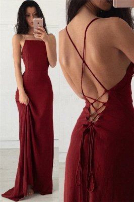 Simple Lace-Up Halter Applique Prom Dresses | Mermaid Sleeveless Sexy Evening Dresses_1