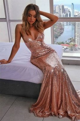 Sexy Spaghetti-Straps Sequins Sleeveless Mermaid Prom Dress